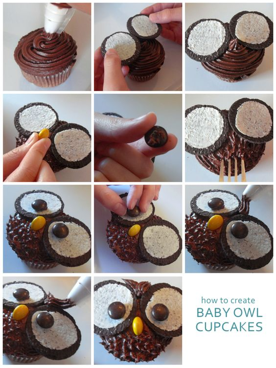 Owl cupcakes tutorial. I'll change the color to something more vibrant.: