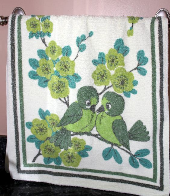 Vintage Hand Towel Retro Bath Towel Love Birds by TheGoldDaisy