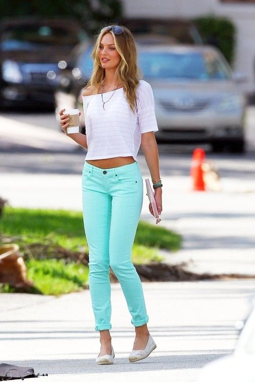 : Colored Pants, Dream Closet, Candice Swanepoel, Cute Outfits, Spring Summer, Mint Jeans, Ray Ban, White Top, Crop Top