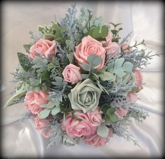Grey and Pale Pink handtied brides bouquet with by FlowersbySara:
