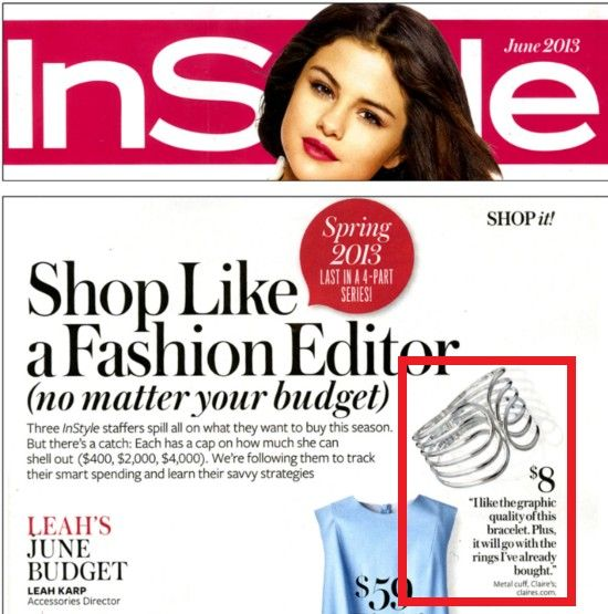 "This silver cuff from Claire's caught the eye of InStyle magazine's accessories editor as a great summer buy for its ""graphic quality."""