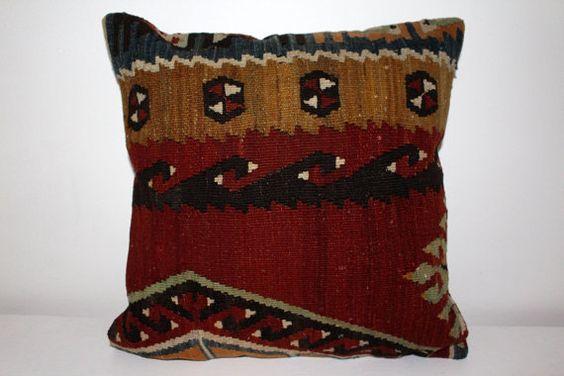 Designer Pillow 16x16  Kilim Pillow Cover  by KilimCorner on Etsy
