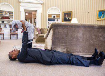President Obama  white house October  2015 baby Ella