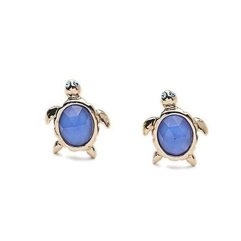 Jewelry - Blue Gem Turtle Stud Earrings