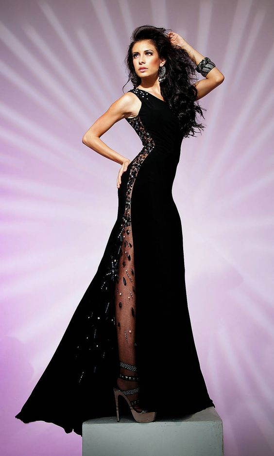 Sequin Long One Shoulder Asymmetric Elegant Black Prom Dress ...