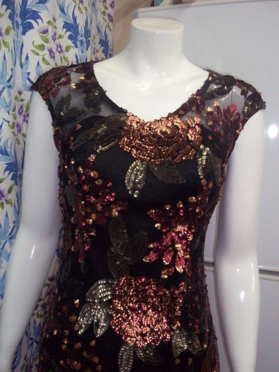 robe noir paillete