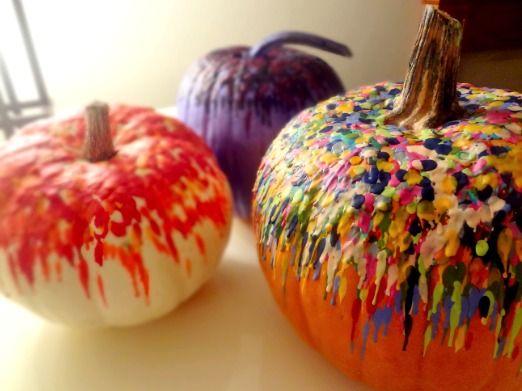 Melted crayons on pumpkins. Fun fall activity!