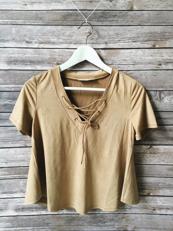 Claudia Lace Up Tee (Taupe)