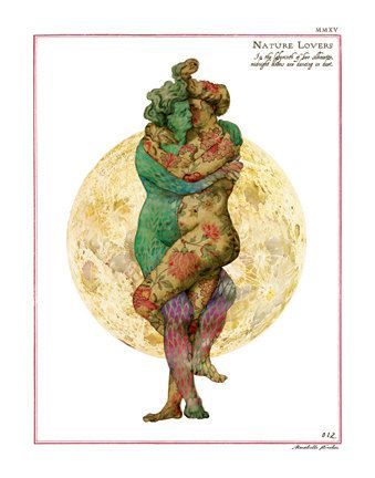 erotic nature lovers fertility goddess spirits botanical by artofmarabelle on Etsy  11x14 art print of two heavily tattooed nature lover spirits, fertility gods and goddesses entwined in a passionate embrace under the full moon. I deliberately left gender open to individual interpretation. I wanted them to be as beautifully covered in tattoos as fairies in a wild garden.