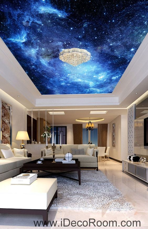Galaxy stars night sky 00075 ceiling wall mural wall paper for Ceiling mural in smokers lounge