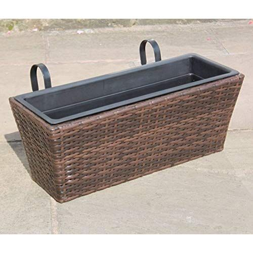 Rattan Hand Woven Window Basket Flower Pots Planters Garden Furniture In Brown Window Baskets