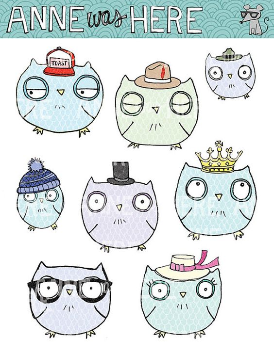 Illustrated Owls in Hats  Digital Clip Art by AnneWasHere on Etsy, $5.00