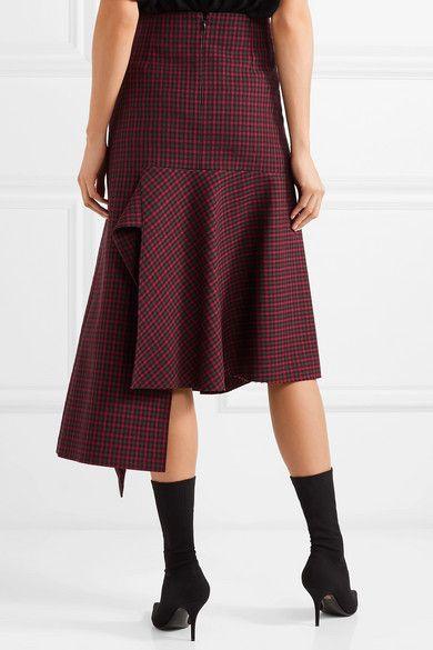 Balenciaga | Asymmetric checked wool skirt | NET-A-PORTER.COM