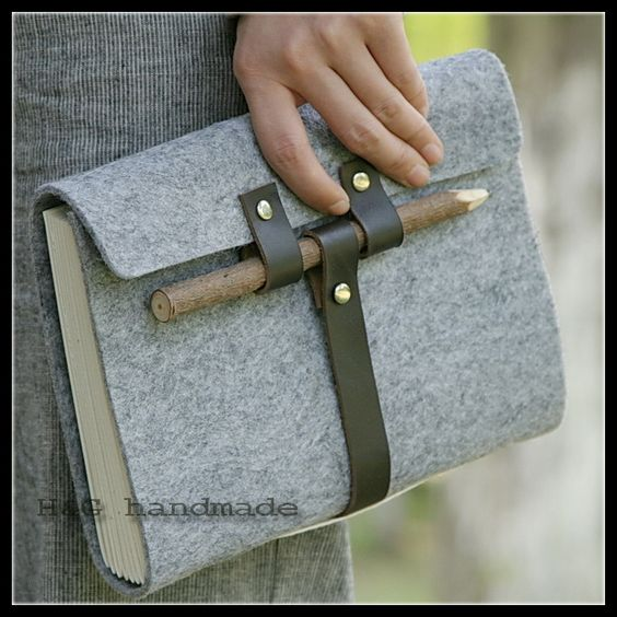 Cuir crayon de bois bandage tapirs vintage main ordinateur portable journal, portable( stylo./sac de crayon)