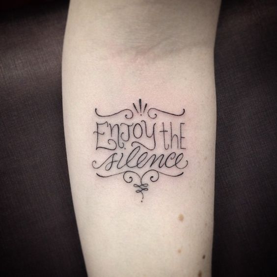 • Enjoy the silence •  #tattoo #tatouage #tatuagem #tattooink #tattooartist #ink #inked #ivysaruzi #letter #lettering #lettertattoo #letteringtattoo