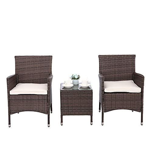 Pin On 900 Outdoor Patio Furniture, 3 Piece Wicker Patio Conversation Set With Beige Cushions