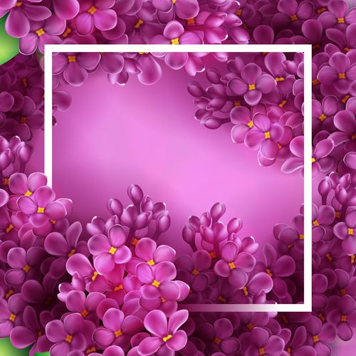 Purple lilac flowers vector background: