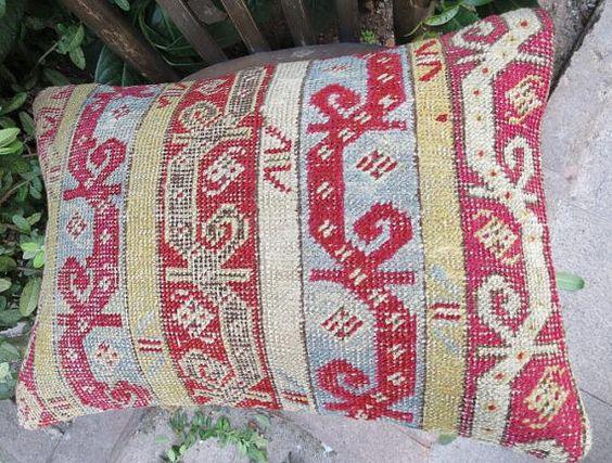 Antikes handgemacht Teppich Kissen decken Farbe von EymenArt