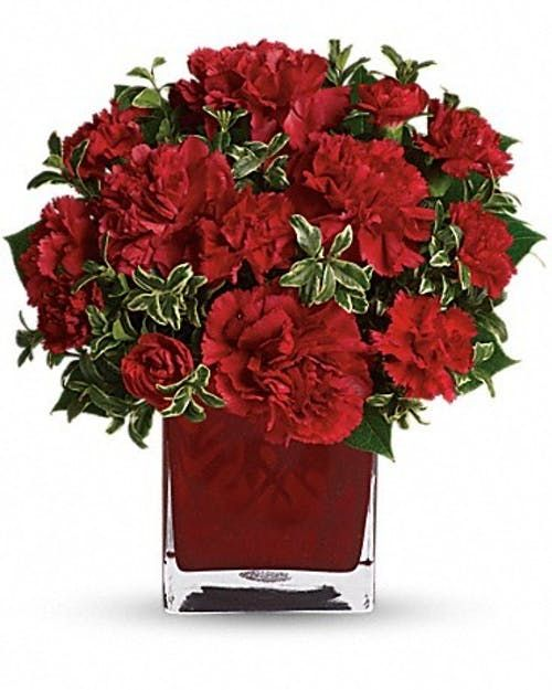 Send This Bouquet Of Vibrant Red Carnations To Your Sweetheart And You Ll Convey Passion Energy And Desi Carnation Flower Get Well Flowers Flower Arrangements