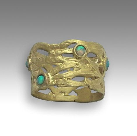 Wedding Band 14k Yellow Gold Ring Blue Opals by artisanlook