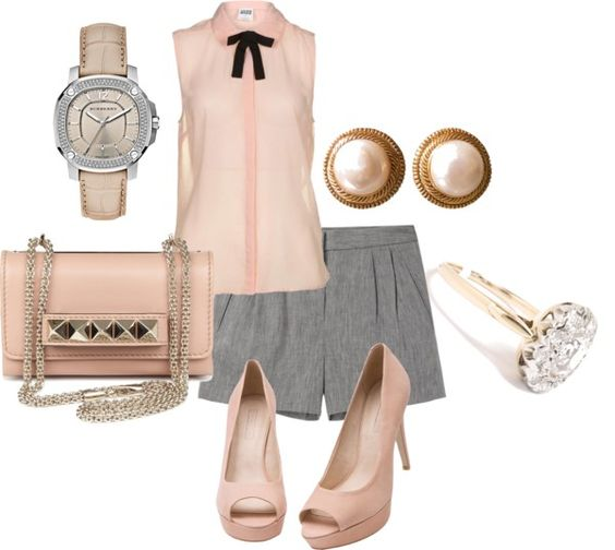 """Rose and gray"" by mollylsanders on Polyvore"