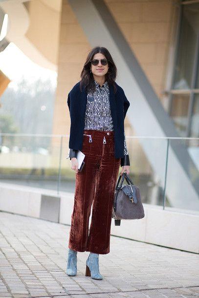 Pants: cropped velvet cropped wide-leg culottes brown velvet velvet top shirt printed shirt blue