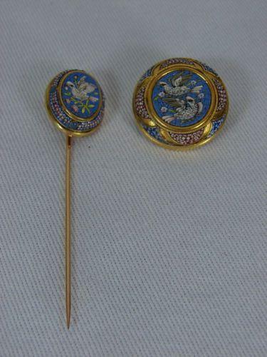 Gorgeous Victorian 18K Gold Micro Mosaic Brooch Stick Pin | eBay