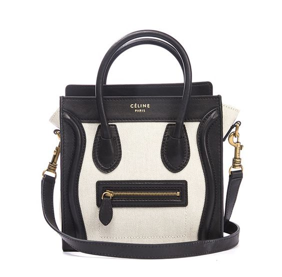 celine handbags shop online - celine black and ivory leather nano mini luggage bag w strap ...