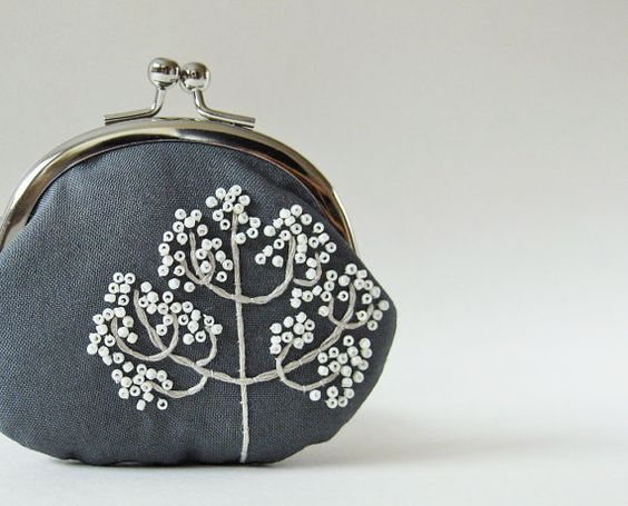 Coin purse  winter tree on gray by oktak on Etsy, $42.00