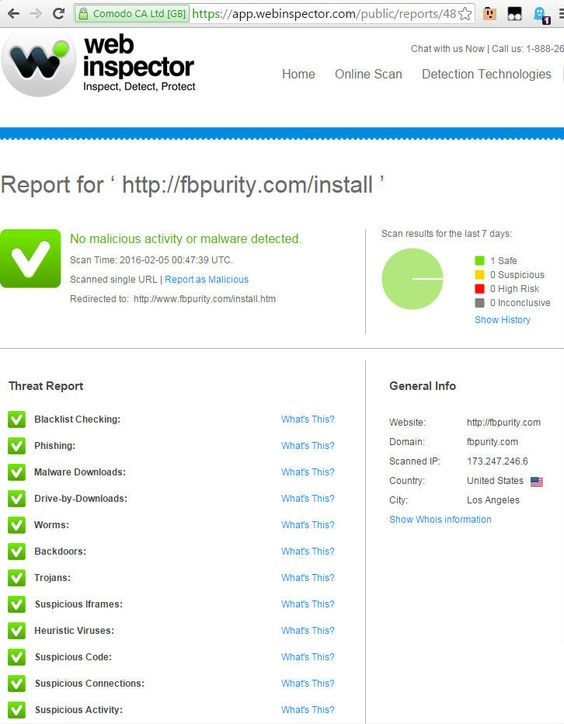 Scan of the FB Purity Install page with Comodo Web Inspector. Result: FB Purity is Safe! Clean up and Customise Facebook with FB Purity: www.fbpurity.com