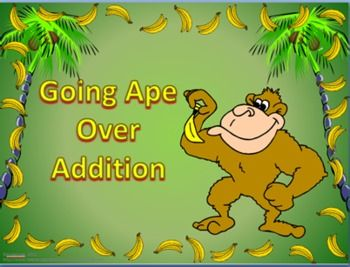 Going Ape Over Addition  This set of 'electronic' flashcards has 269 PowerPoint slides. It covers the addition facts from 0+0 to 10+10. The problem is displayed on the screen and with the click of the mouse (or space bar) the answer will appear. This is an excellent activity that can be used individually on a computer or as a class with a projector. Students love to race each other when playing games such as Around the World.