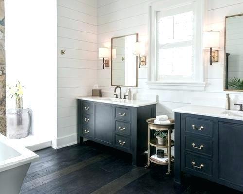 Black Floor White Walls Bathroom Bathroom With Dark Wood Floor Large Farmhouse Master Dark Wood Fl Black Vanity Bathroom Black Bathroom Black Cabinets Bathroom