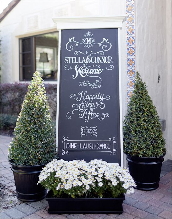 chalkboard wedding signs. Shelby, aunt   Chris needs to do this with her caligraphy handwritting. cool!