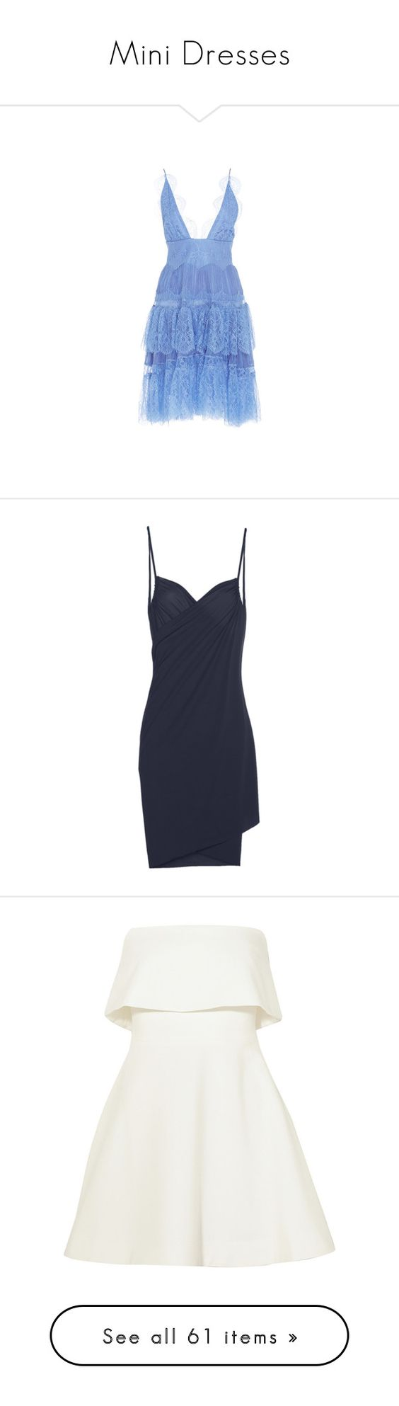 """""""Mini Dresses"""" by marchmaiden ❤ liked on Polyvore featuring dresses, maria lucia hohan, navy blue, swimwear, strappy dress, wrap dress, navy blue dress, wraparound dress, cosabella and vestidos"""