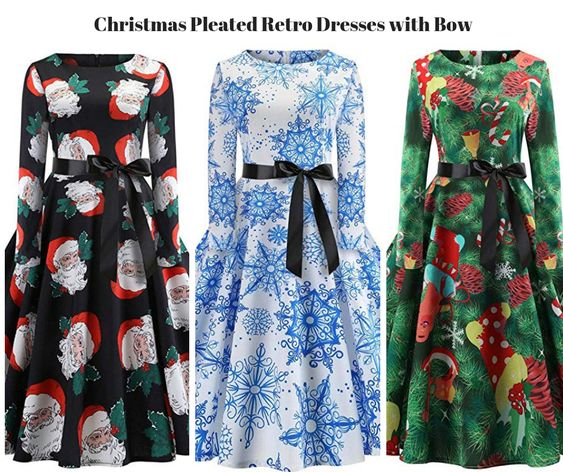 Christmas Pleated Retro Dresses with Bow