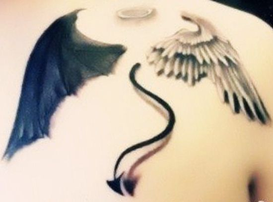 Wing Tattoo Shoulder Blades good angle halo...