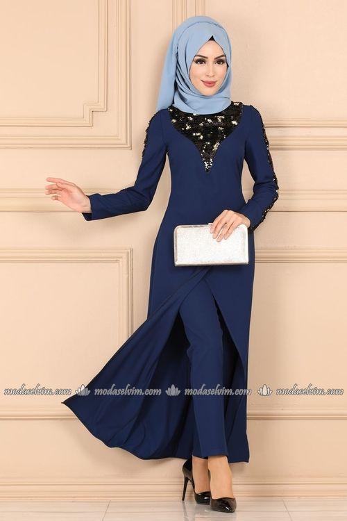 Modaselvim Kombin Verev Kesim Ikili Tesettur Takim 2213ms212 Indigo Islami Giyim Moda Stilleri Moda