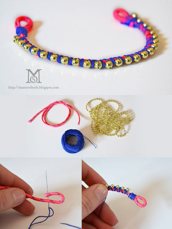 how to make a Ball chain bracelet: I made a loop with the rope and blocked it with thread and needle then I put the ball chain over the rope and I wrapped the yarn around both. The ball chain will be blocked in place.