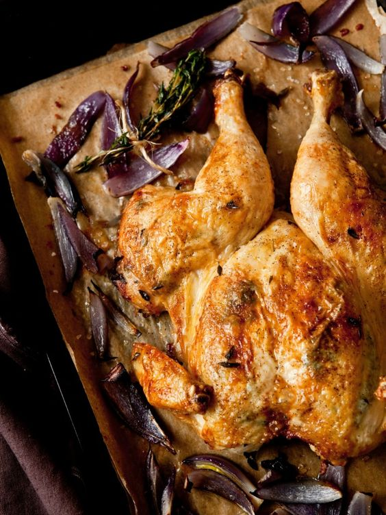 Butterflied Roast Chicken with Red Onions by @Carrie Vitt (Deliciously Organic)