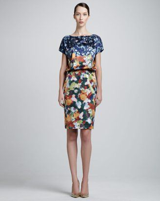 St. John - Shop Online - Collection - Floral Stretch Sateen Milano Fitted Dress with Paillettes, ChambordSilk Charmeause Cap-Sleeve Dress, D...  I like the print