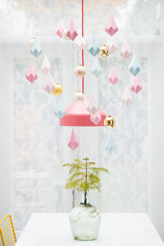 paper crystals - easy DIY Christmas decor; just hang from the ceiling along with a few shiny ornaments!