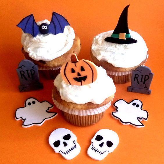 Halloween Fondant Edible Cupcake toppers by SweetCakeByAnastasia - cake decorations for halloween