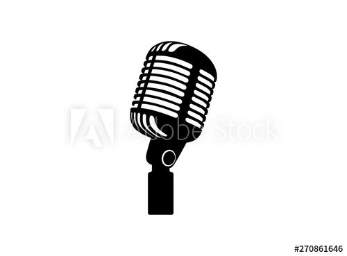 Retro Vintage Microphone Vector On White Background Mic Silhouette Music Voice Record Icon Recording Studio Symbo In 2020 Retro Vintage Vintage Vintage Microphone