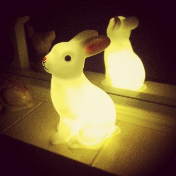 Polka Dots and Petticoats - Easter decorations, bunny rabbit night light #bunnyinthewindow