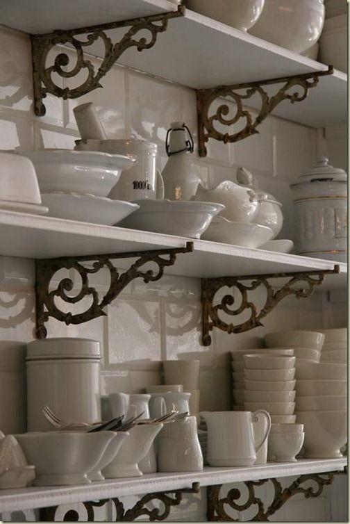 white dishes, brackets