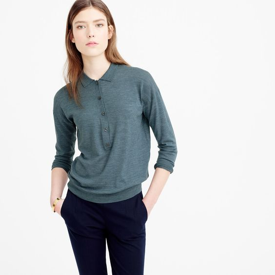 Featherweight merino wool long-sleeve polo shirt : sweaters | J.Crew: