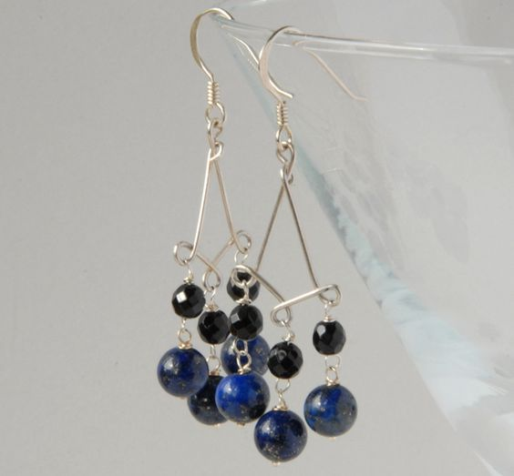 Blue Lapis, Black Onyx and silver chandelier earrings £17.50