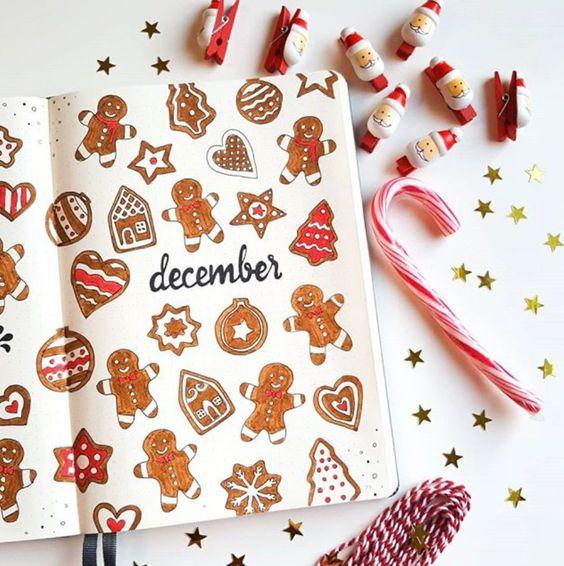 30 idées pour votre monthly cover de décembre - @b.bulletjournal on instagram