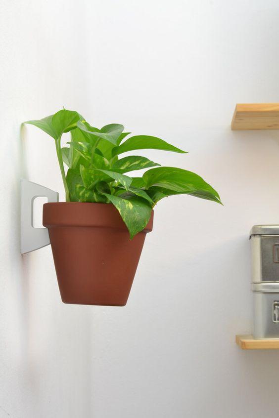 Single white bracket + brown terracotta planter - Hanging Planter by VERAPRIMAVERAbcn on Etsy https://www.etsy.com/listing/223246665/single-white-bracket-brown-terracotta
