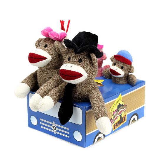 The Sock Monkey Family Set - Includes Coconuts, Cup Cake, Daisy Mae, Joey and the family car.
